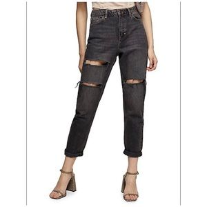 TOPSHOP Distressed Washed Black Mom Tapered Jeans